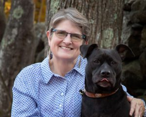 Lisabeth Wotherspoon with her dog, Onyx offering EMDR therapy in Rochester, NH.